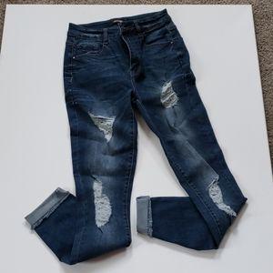 Refuge Brand Denim Faded Slit Jeans Size 0